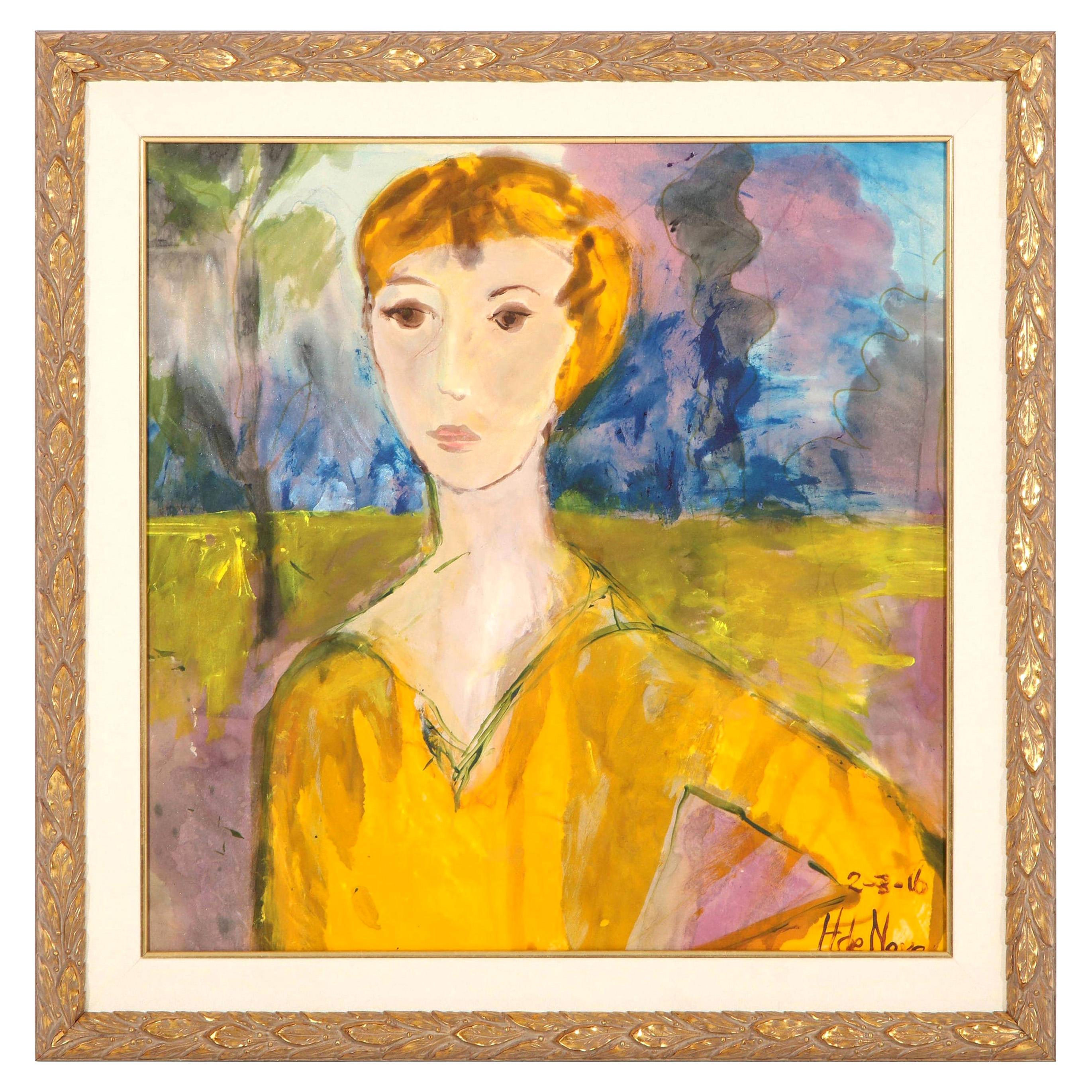 """Painting, """"The Golden Lady"""", Modern Art, Painted on Silk Fabric, Contemporary"""