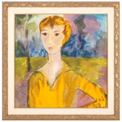 """Painting, """"The Golden Lady"""", Yellow Colors, Modern Art, in Stock"""