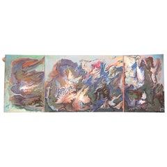 """Painting """"Tryptique des ambitions à venir"""" 1969, by Catherine Val"""