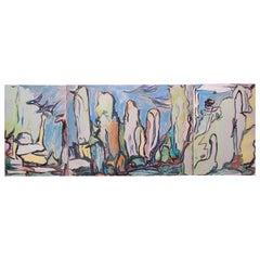 """Painting """"Tryptique des sanctuaires aux oiseaux"""" 1969, by Catherine Val"""