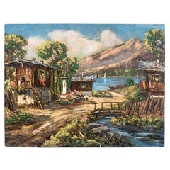 """Painting """"Village on the shores of the lake"""""""