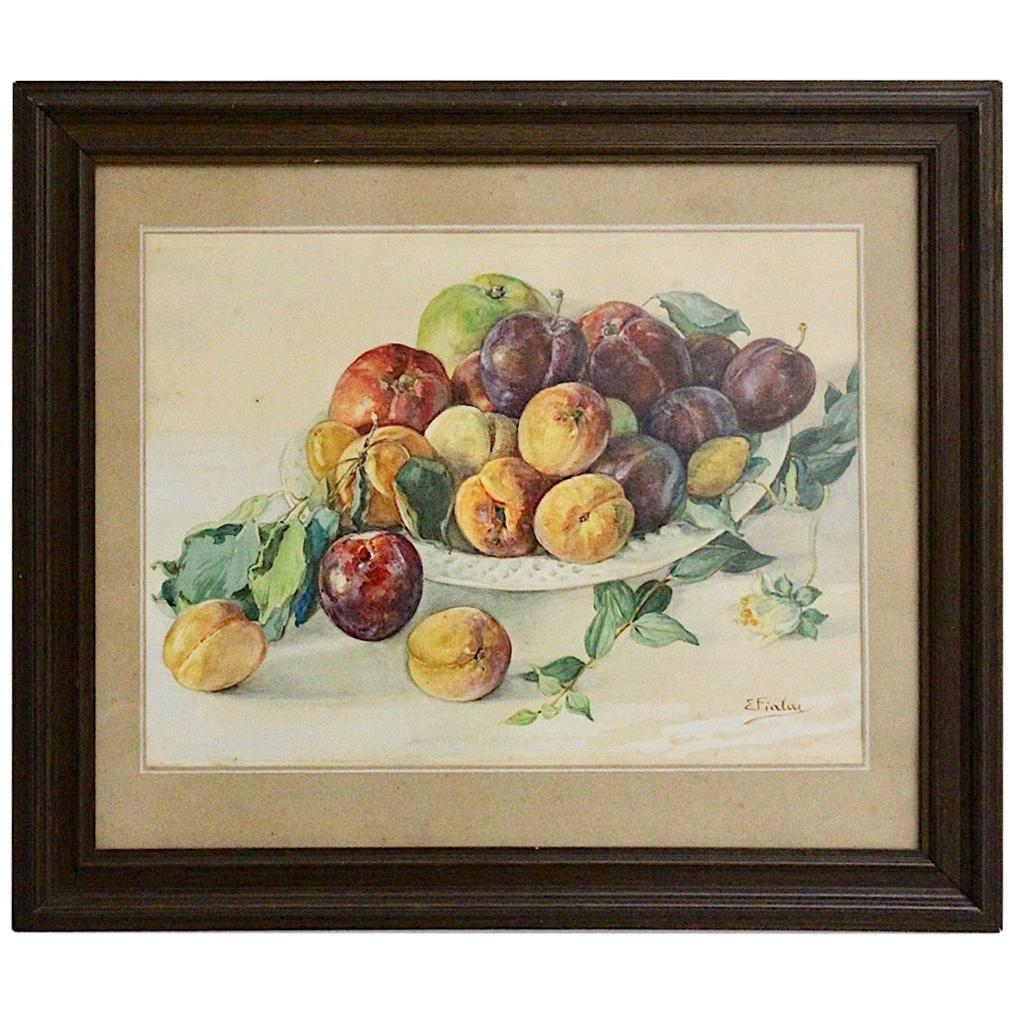 Painting Watercolor Fruits in a Bowl by Emil Fiala, Austria, 1930s