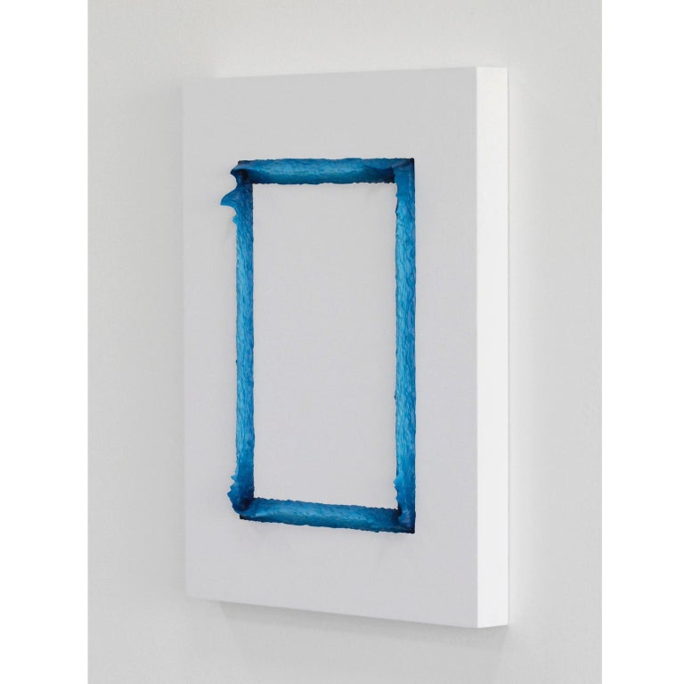 Property 989/949 (White and Prussian Blue Rectangle), process painting. Hand painted 3D relief in acrylic paint on encaustic board. Painting with a rectangular motif with a subtle exchange of colour departing from a deep Prussian Blue to a lighter