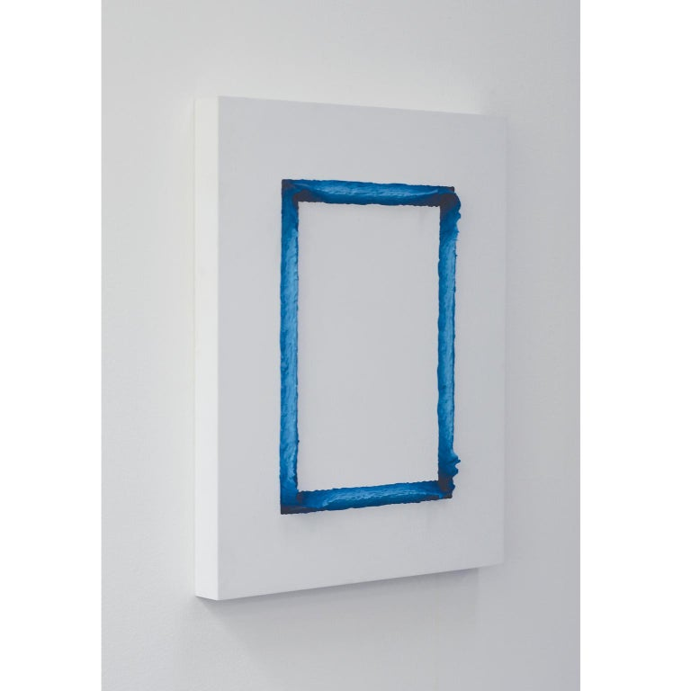 Modern Painting White and Prussian Blue Rectangle by Chris & Jody Vingoe For Sale