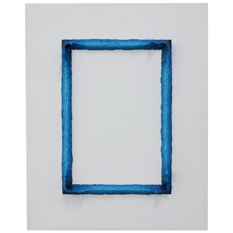 Painting White and Prussian Blue Rectangle by Chris & Jody Vingoe For Sale