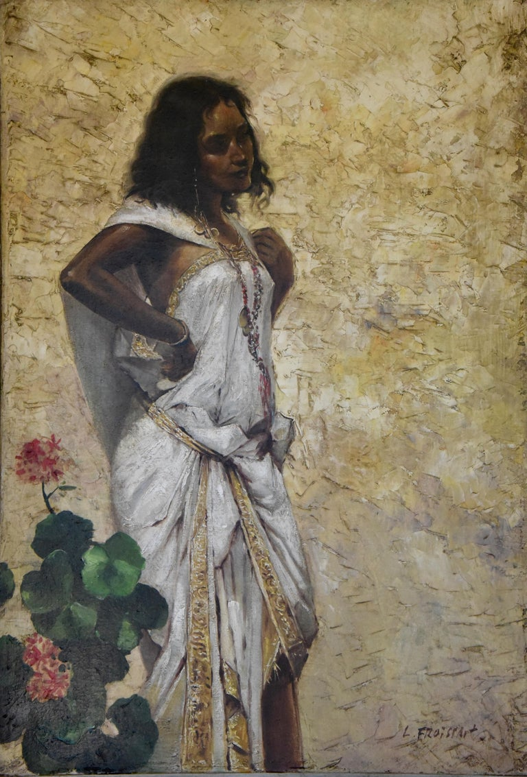 Painting Woman in an Oriental Dress Leaning Against a Wall by Froissart, France In Good Condition For Sale In Antwerp, BE