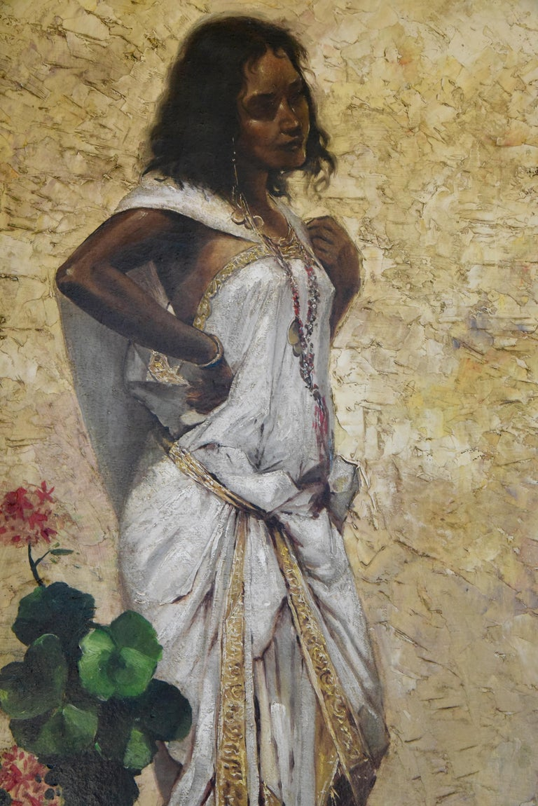 French Painting Woman in an Oriental Dress Leaning Against a Wall by Froissart, France For Sale