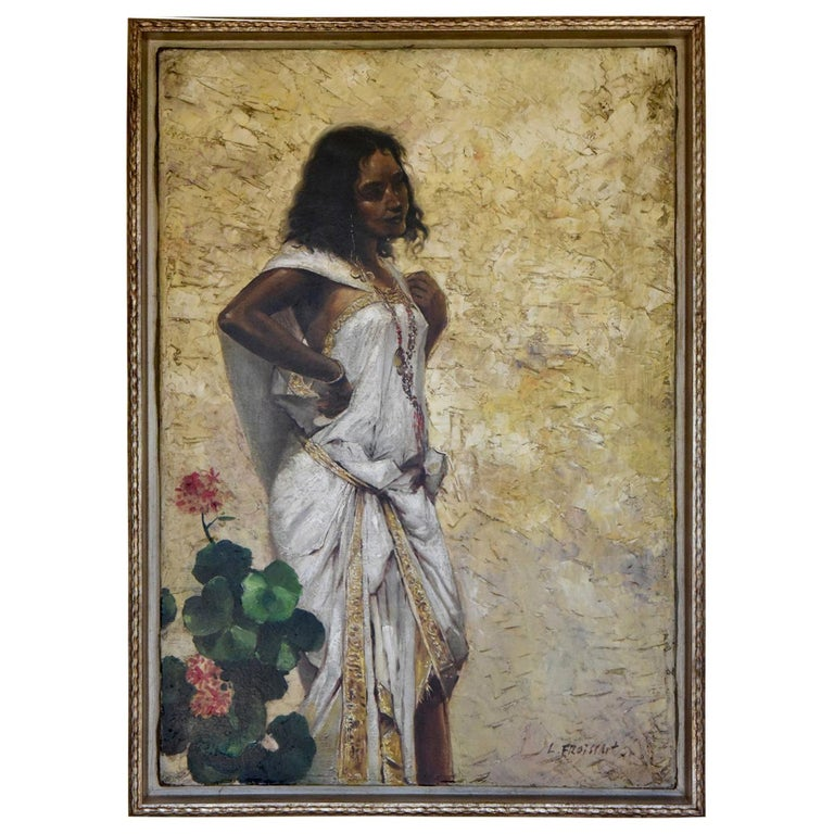 Painting Woman in an Oriental Dress Leaning Against a Wall by Froissart, France For Sale
