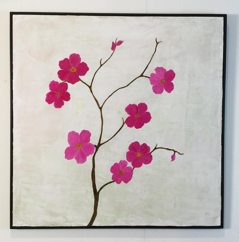 The beauty of the blossoms in the painting is enhanced by the layers of Venetian plaster and layers of acrylic paint. Each are 25
