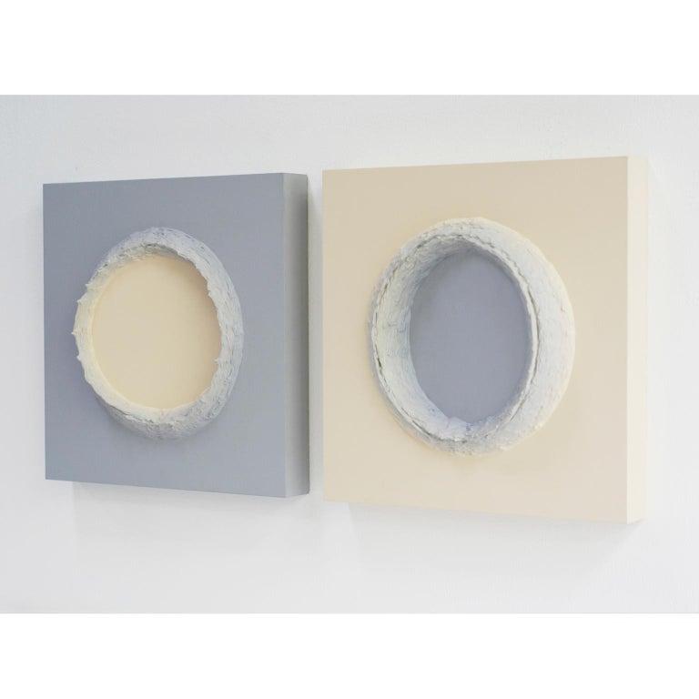 Modern Paintings Light Grey and Buff Titanium Circles by Chris & Jody Vingoe