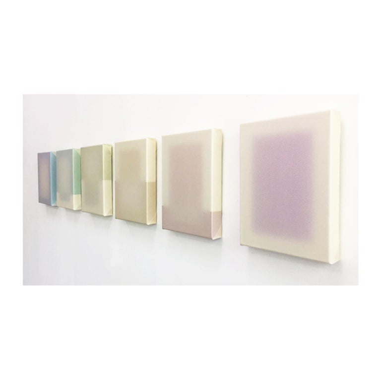Shift (inversion) Paintings from the shift series are pure panels of paint stretched over a supporting framework. Each panel is made by building up layers of paint onto a silicone mould taken from a traditional artist's canvas. Each painting