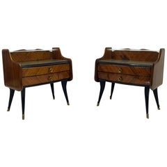 Pair of 1950s Italian Rosewood Bedside Tables or Nightstands