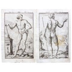 Pair 17th Century Medical Anatomy Engravings by Francesco Valesio, 1627