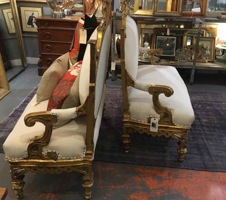 Pair of 1820-1830 Carved Italian Gilt Dragon Settees For Sale 15