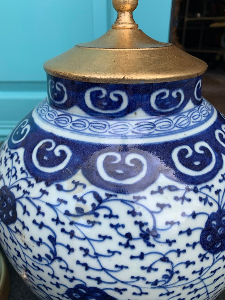 Pair Of Late 19th Early 20th Century Blue And White Vases As Lamps Giltwood Bases For Sale At