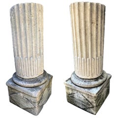 Pair of Hand Carved Stone Columns Post on Base Pedestal Antiques Los Angeles
