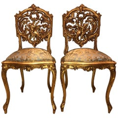 Pair of 18th Century Louis XV Chairs Sculpted, Giltwood, Silk Jacquard