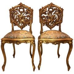 Pair of 18th Century Louis XV Chairs Sculpted, Giltwood, Silk Jacquard