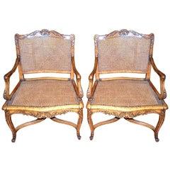 Pair 18th c. Regence  Walnut Armchairs