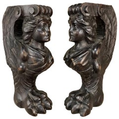 Pair 18th Century Carved Angel Sculptures, Bookends