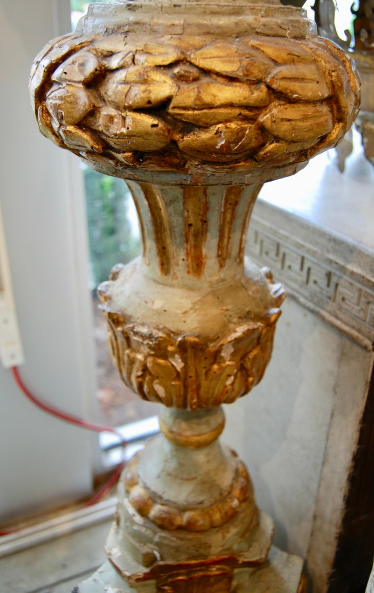 Italian Pair 18th Century Carved, Painted and Gilded Torchère For Sale
