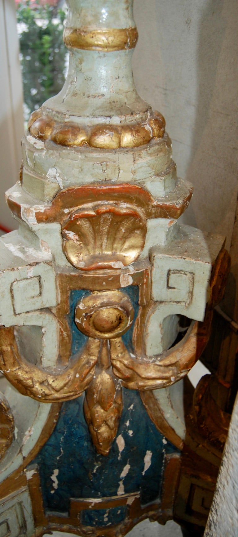 Gilt Pair 18th Century Carved, Painted and Gilded Torchère For Sale