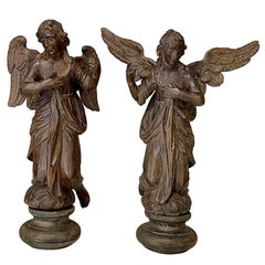 Pair of 18th Century Carved Wood Angels