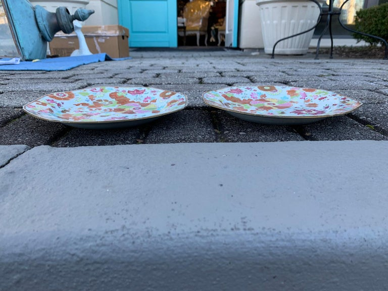 Pair of 18th Century Chinese Export Famille Rose Tobacco Leaf Plates 10