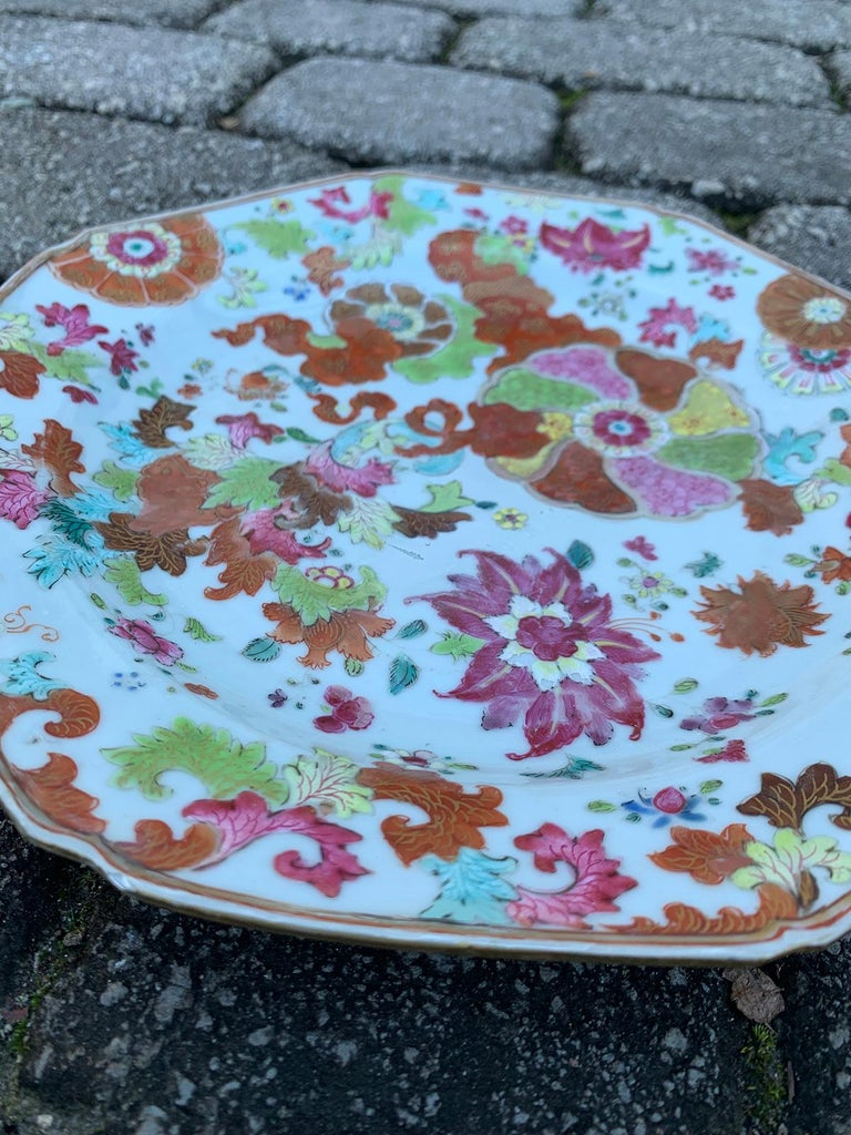 Pair of 18th Century Chinese Export Famille Rose Tobacco Leaf Plates 5