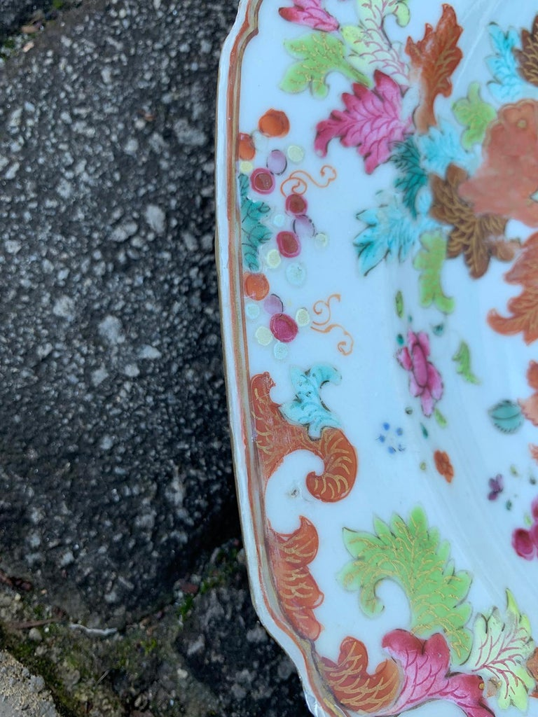 Pair of 18th Century Chinese Export Famille Rose Tobacco Leaf Plates 6