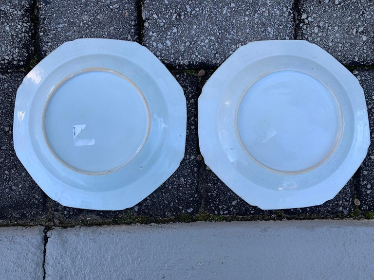 Pair of 18th Century Chinese Export Famille Rose Tobacco Leaf Plates 7