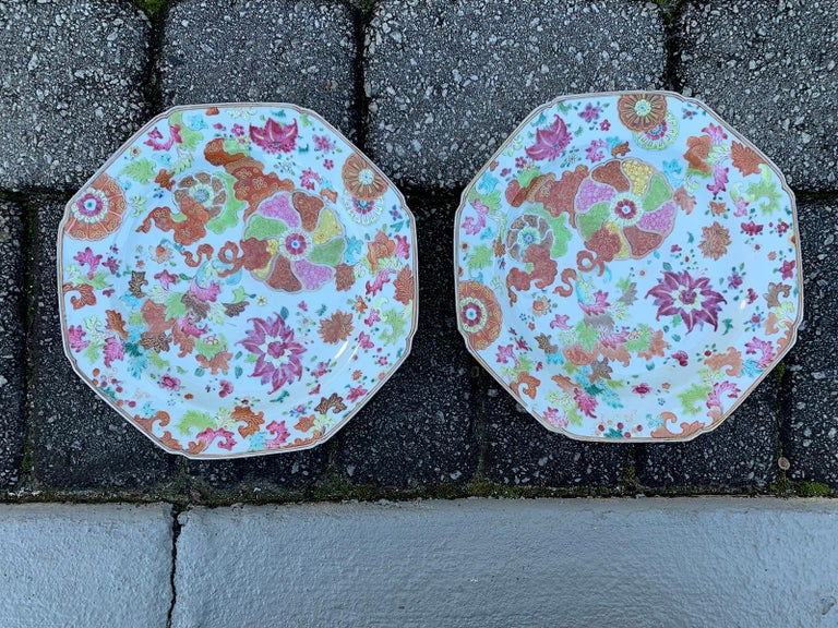 Pair of 18th Century Chinese Export Famille Rose Tobacco Leaf Plates 8