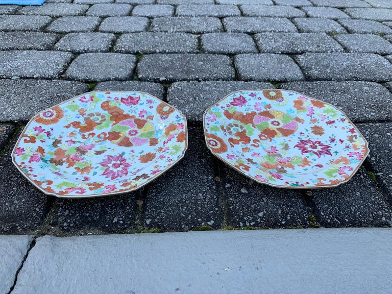 Pair of 18th Century Chinese Export Famille Rose Tobacco Leaf Plates 9
