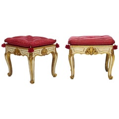 Pair of 18th Century Continental Parcel-Gilt and Crème Painted Footstools