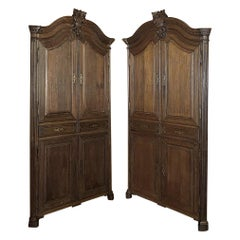 Pair of 18th Century French Louis XVI Corner Cabinets
