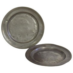 Pair of 18th Century French Pewter Serving Plates