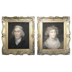 Pair 18th Century Georgian Portraits in Fine Giltwood Frames, Irish Circa 1790