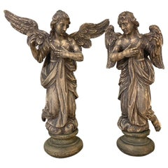Pair 18th Century Hand-Carved Wooden Angels
