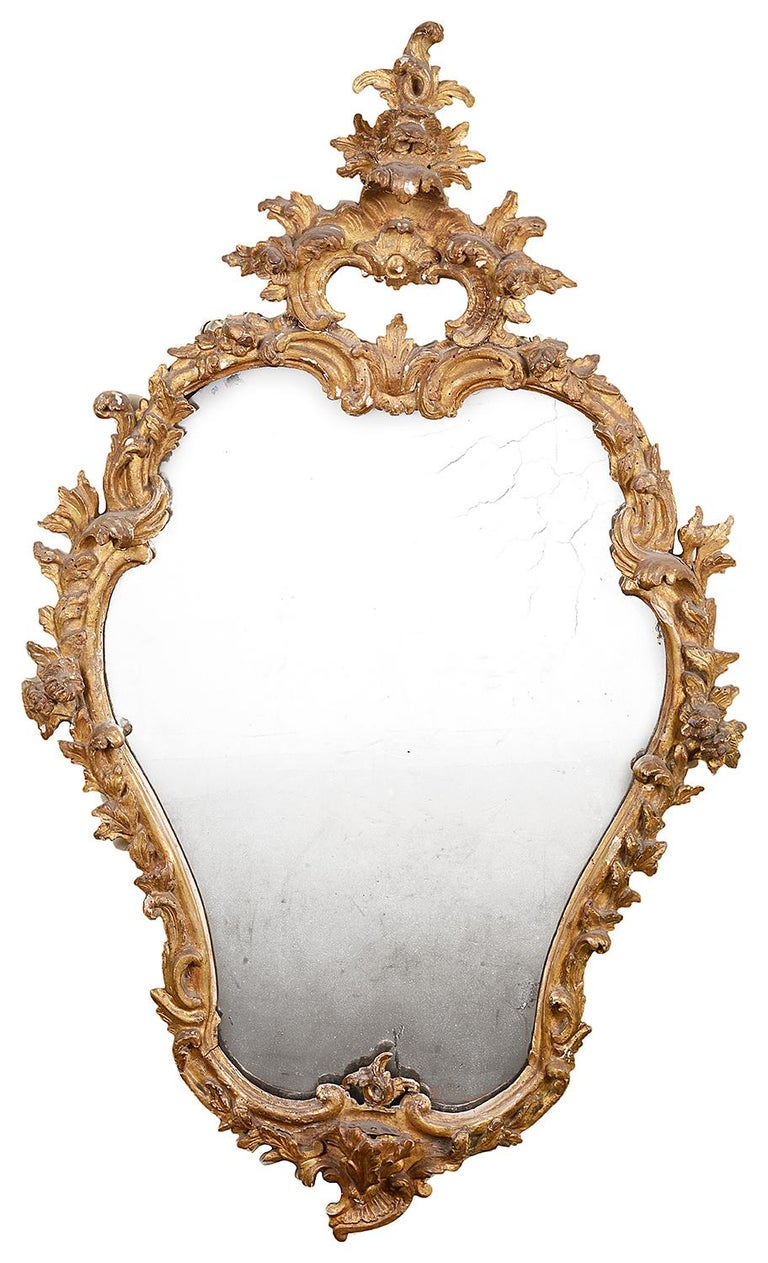 Hand-Carved Pair of 18th Century Italian Carved Giltwood Mirrors For Sale