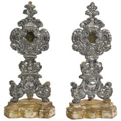 Pair of 18th Century Italian Silver on Wood Baroque Reliquary Holders