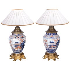Pair of 18th Century Japanese Arita Imari Vases/Lamps