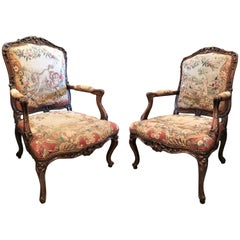 Pair of Regence Fauteuils Armchairs Original Aubusson Tapestry Antique