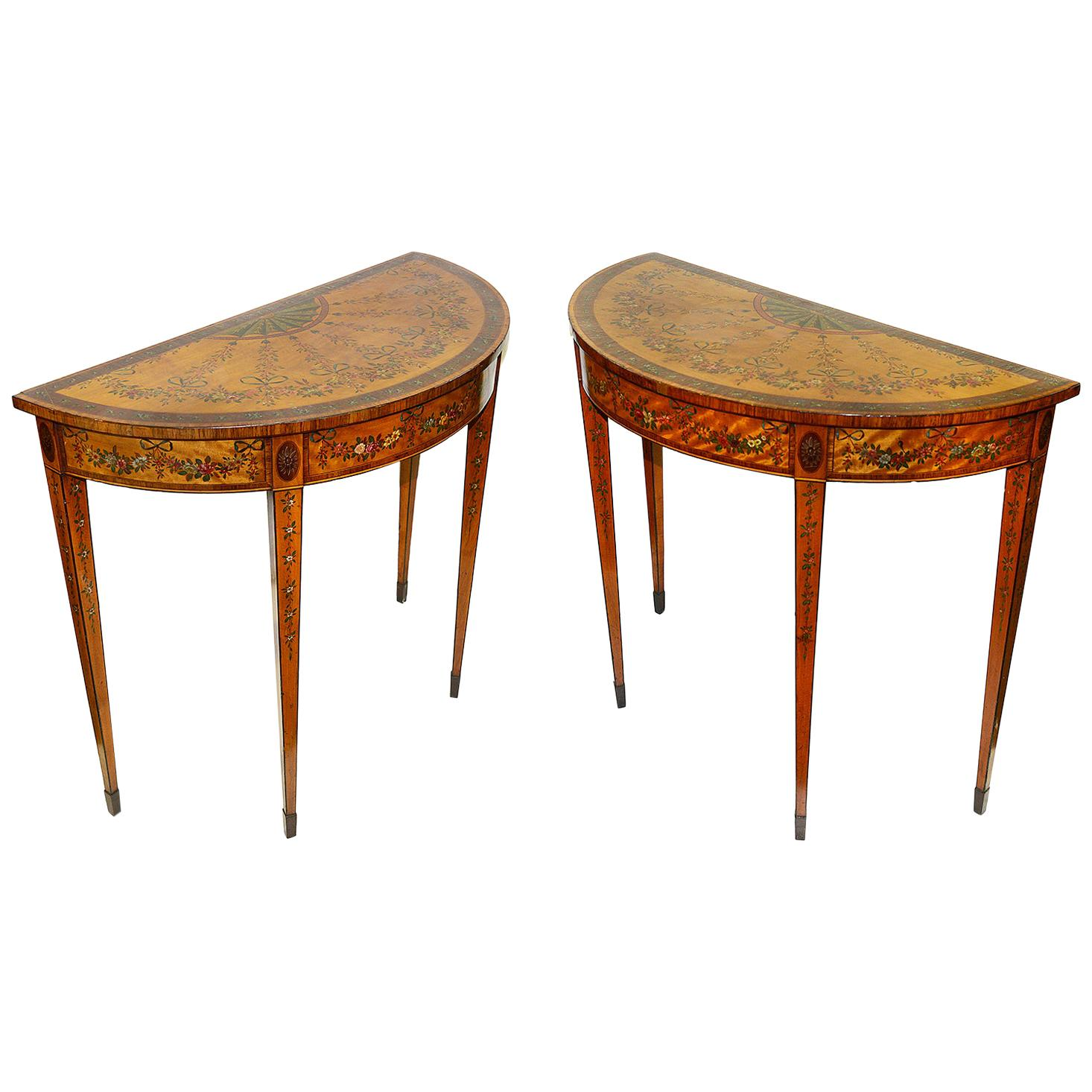 Pair 18th Century Sheraton period side tables.