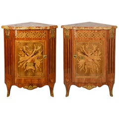 Pair of 18th Century Style French Corner Cabinets