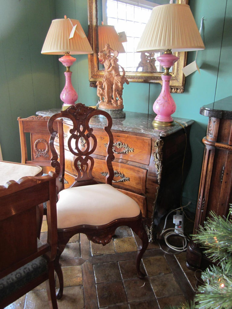 Hand-Carved Pair Portuguese Rococo Jacaranda Hand carved Wood Dining Side Chairs Antique LA For Sale