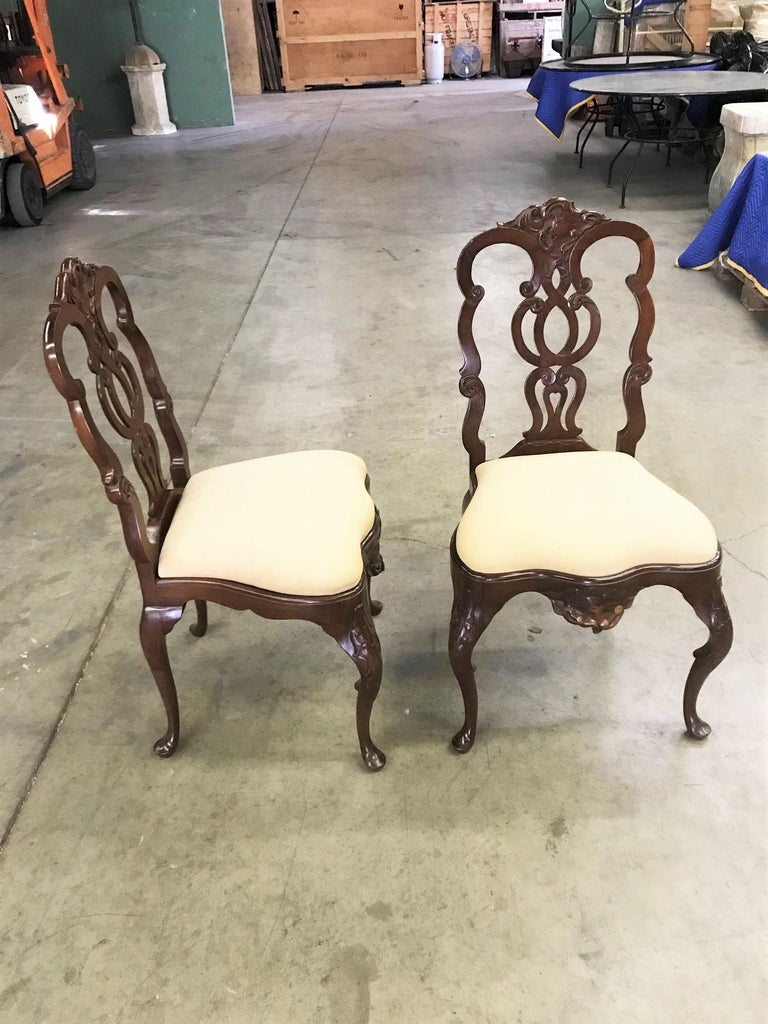 Pair Portuguese Rococo Jacaranda Hand carved Wood Dining Side Chairs Antique LA For Sale 1
