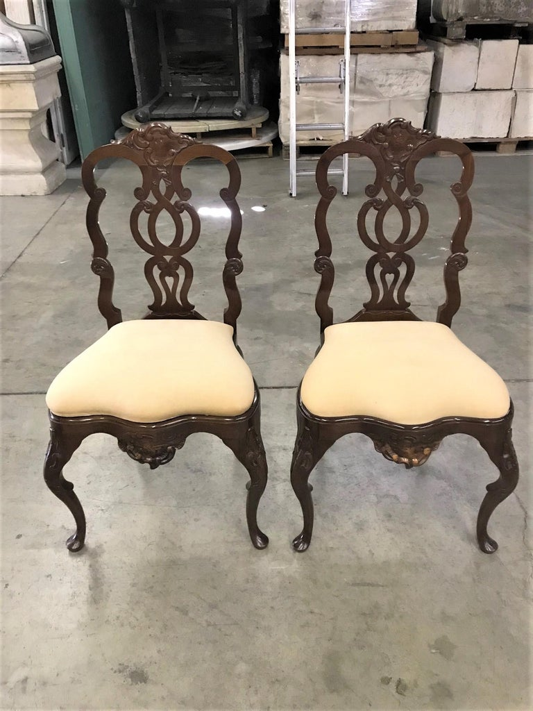 Pair Portuguese Rococo Jacaranda Hand carved Wood Dining Side Chairs Antique LA For Sale 2