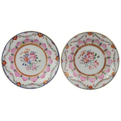 Pair 18th Qianlong Period Chinese Porcelain SE Asia Bencharong Lotus Plate