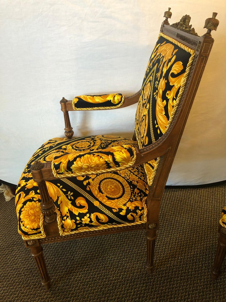 French Pair of 19th-20th Century Louis XVI Style Carved Armchairs  For Sale