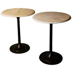 Pair of 1920 French Marble-Top Bistro Tables